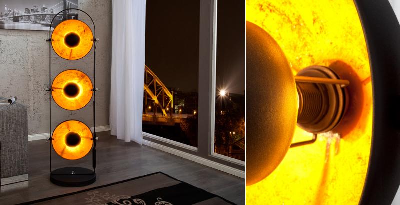 Design Stehlampe STUDIO 3 Lampenschirme schwarz gold Lampe Blattgold