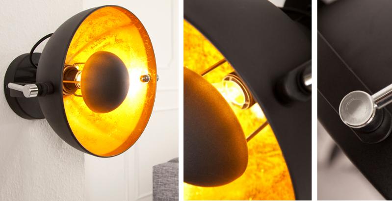 Moderne Wandleuchte STUDIO schwarz gold Lampe Blattgold