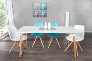 Design Retro Esstisch SCANIA MEISTERSTÜCK weiß 160 cm inkl. Tischbeine aus Eiche