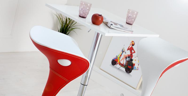 Stylischer Barhocker VIPER weiß-rot